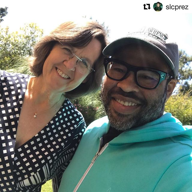 No doppelgängers here! That's @slcprez Cristle Collins Judd visiting with @jordanpeele '01 in Los Angeles! • • • #jordanpeele #alumnus #alum #us #doppelganger #la #sarahlawrencecollege #sarahlawrence